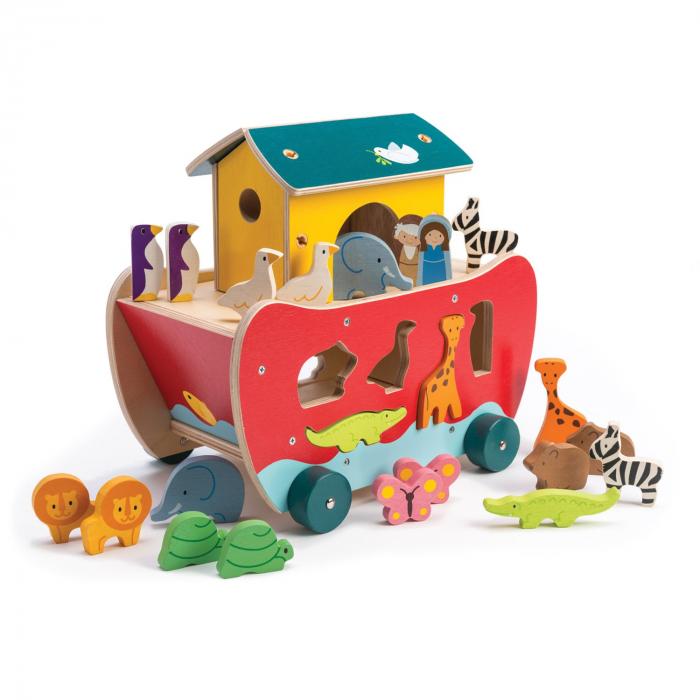Set jucarii din lemn Arca lui Noe, Joc de sortare, 23 piese 1