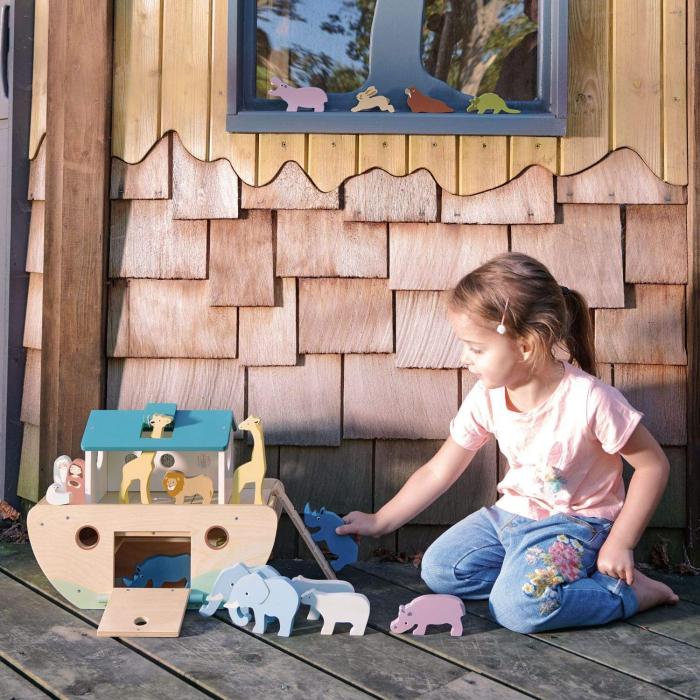 Set jucarii din lemn Arca lui Noe, Joc de sortare, 25 piese 0