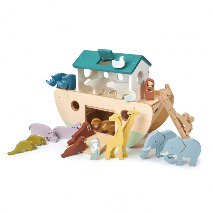Set jucarii din lemn Arca lui Noe, Joc de sortare, 25 piese 2