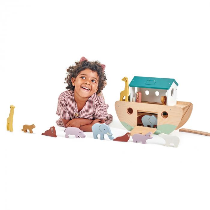 Set jucarii din lemn Arca lui Noe, Joc de sortare, 25 piese 1
