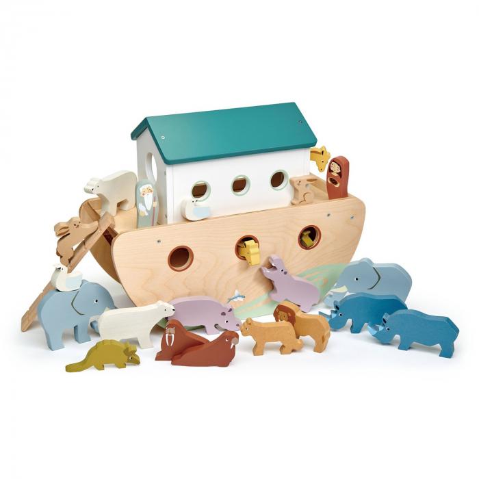 Set jucarii din lemn Arca lui Noe, Joc de sortare, 25 piese 4