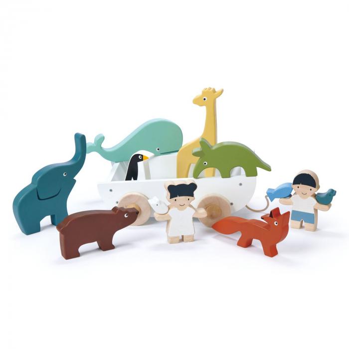 Set jucarii din lemn Corabia cu animalute, 12 piese 6