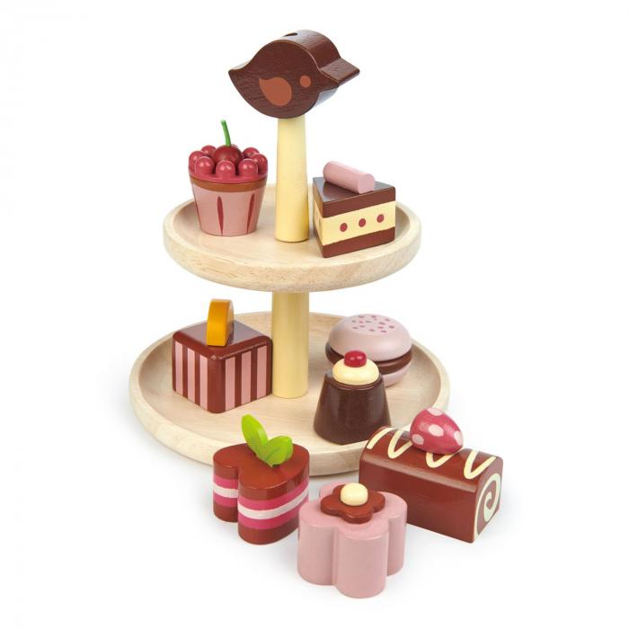 Set jucarii din lemn Prajituri cu ciocolata, 9 piese 2