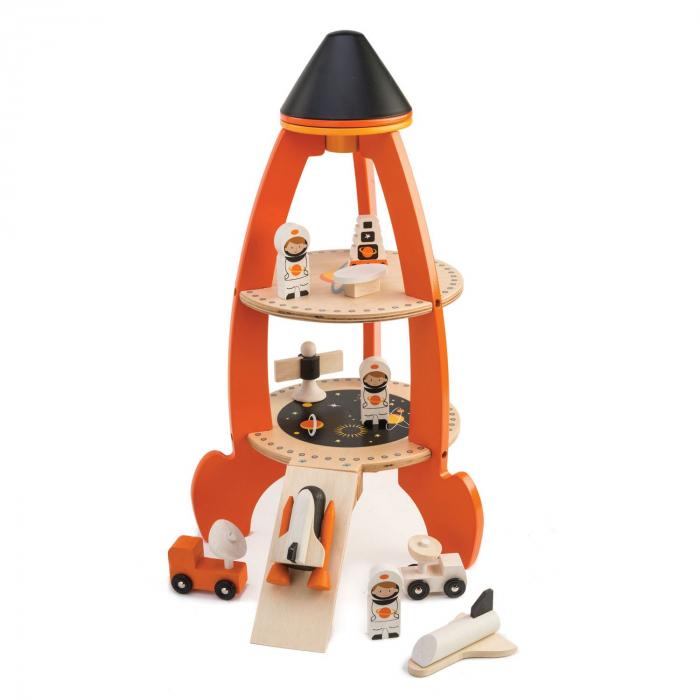 Set jucarii din lemn Racheta cu astronauti, 11 piese 0