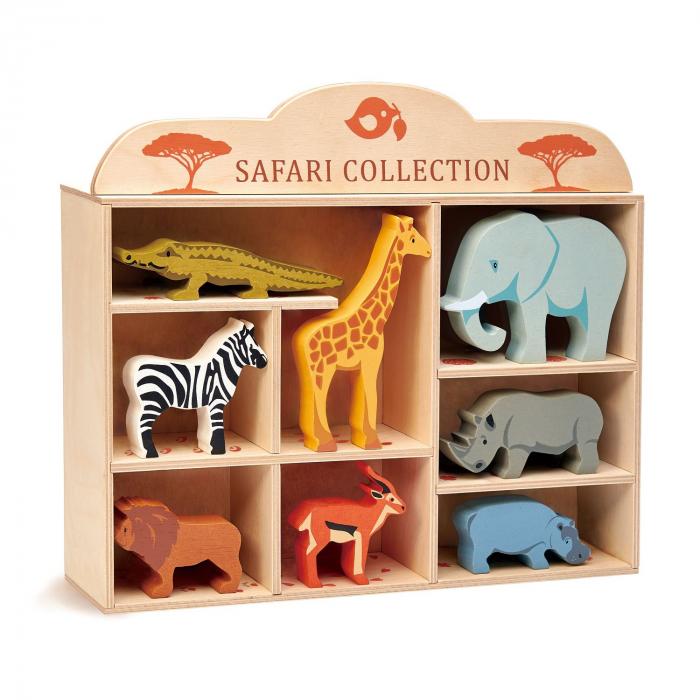Set jucarii din lemn Raftul cu animale din savana, 8 piese 2