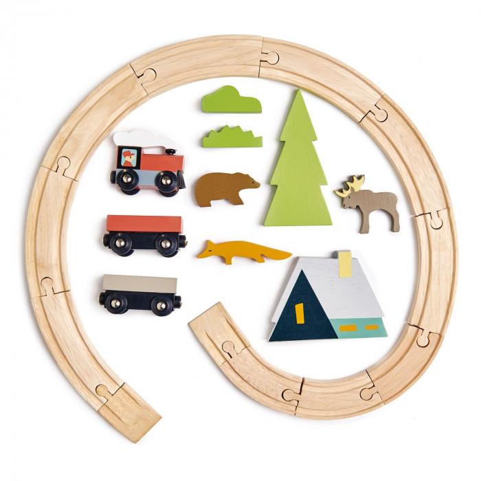 Set jucarii din lemn Trenulet montan 3