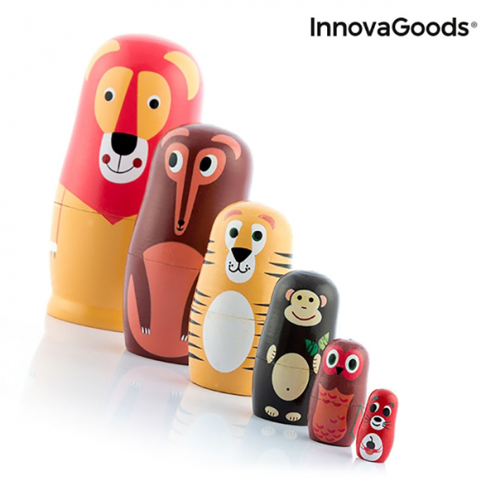 Set Papusi Matryoshka figurine animale, 11 piese 4