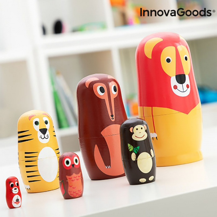 Set Papusi Matryoshka figurine animale, 11 piese 2