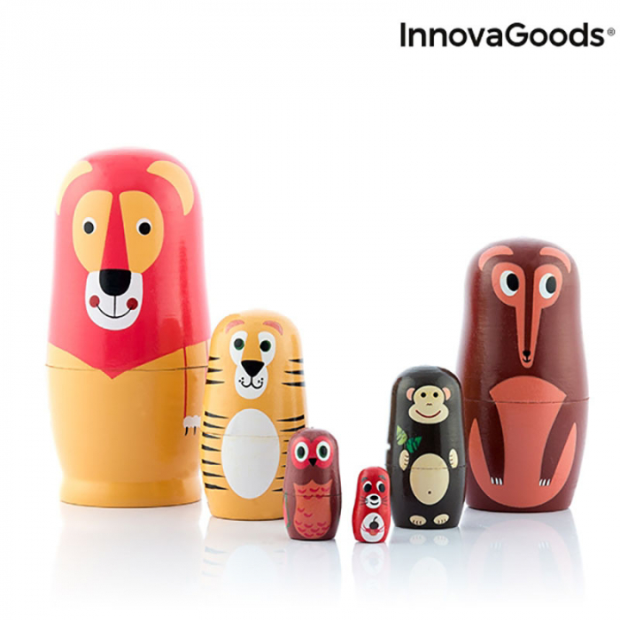 Set Papusi Matryoshka figurine animale, 11 piese 7