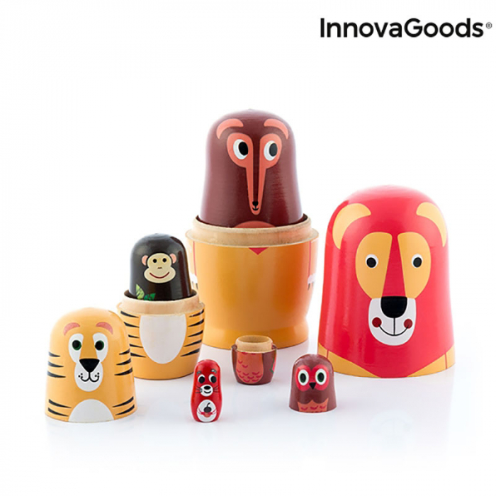 Set Papusi Matryoshka figurine animale, 11 piese 5