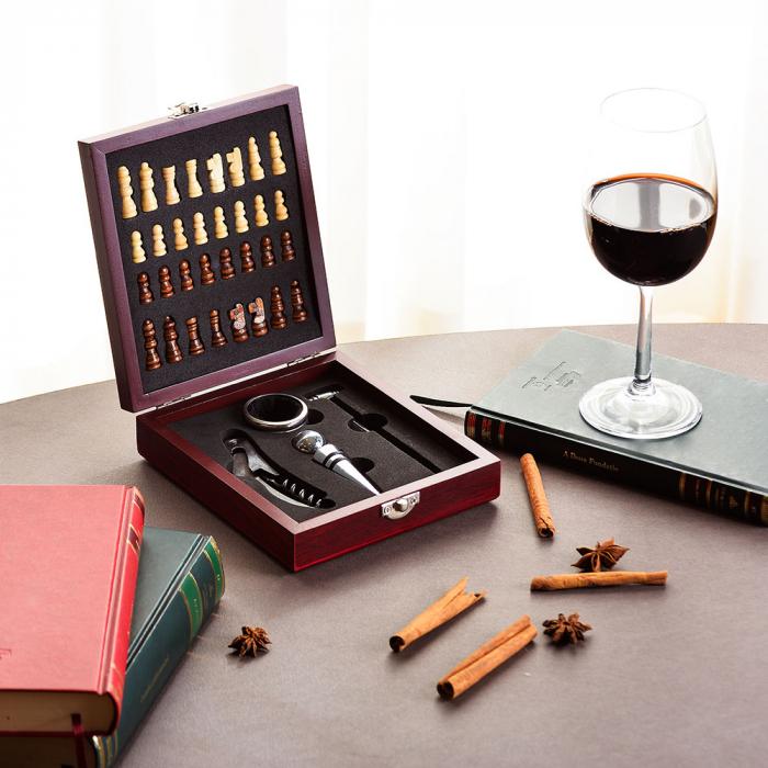 Set sah si accesorii vin Checkmate, Caseta rafinata [0]