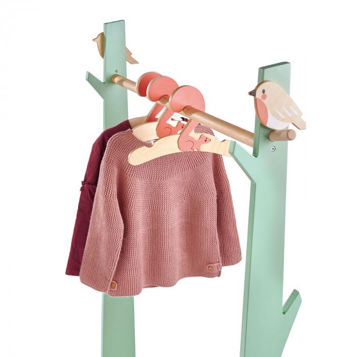 Stand haine copii, din lemn premium, cu umerase vesele 2