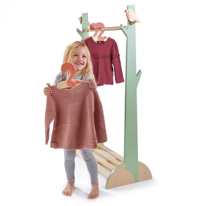 Stand haine copii, din lemn premium, cu umerase vesele 1