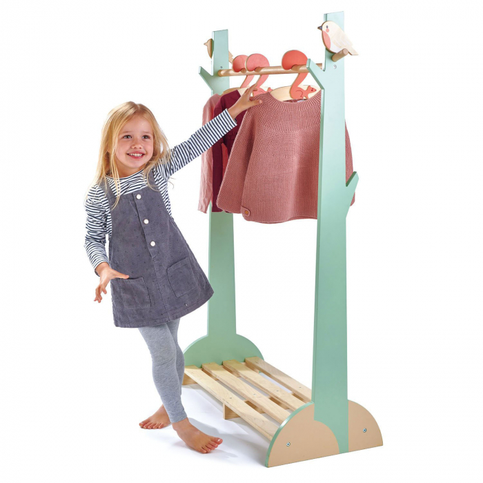 Stand haine copii, din lemn premium, cu umerase vesele 0