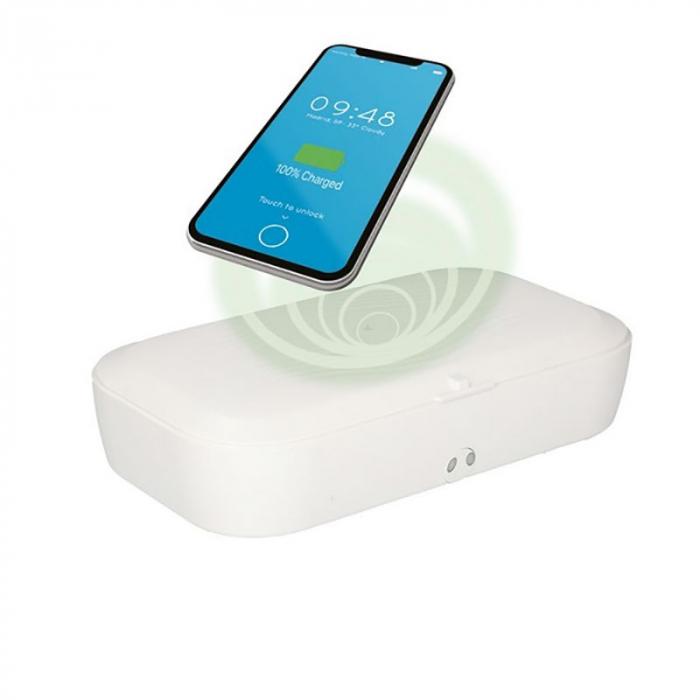 Sterilizator UV caseta alba cu incarcator wireless 2