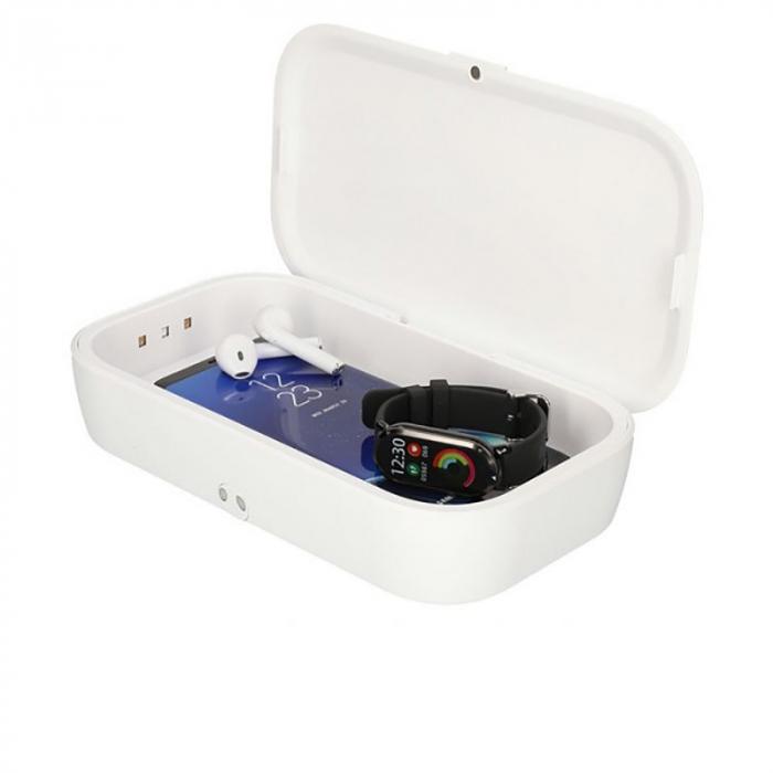 Sterilizator UV caseta alba cu incarcator wireless 1