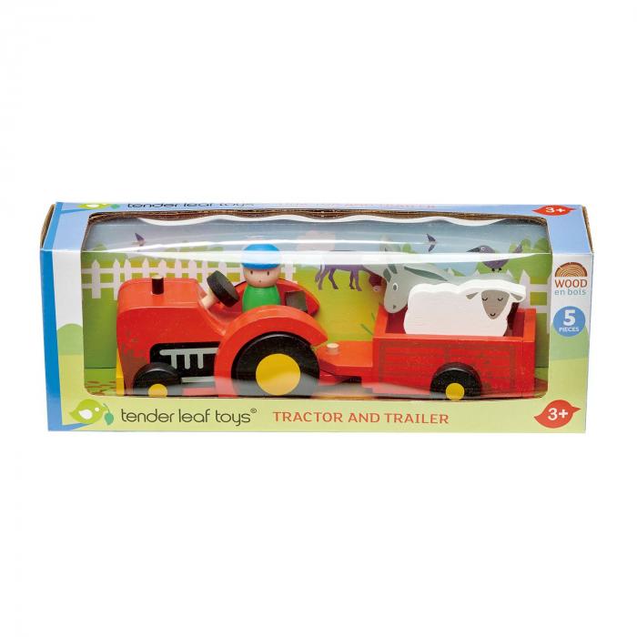 Tractor cu remorca jucarie din lemn educativa, 5 piese 3
