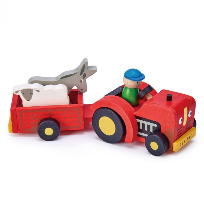 Tractor cu remorca jucarie din lemn educativa, 5 piese 2