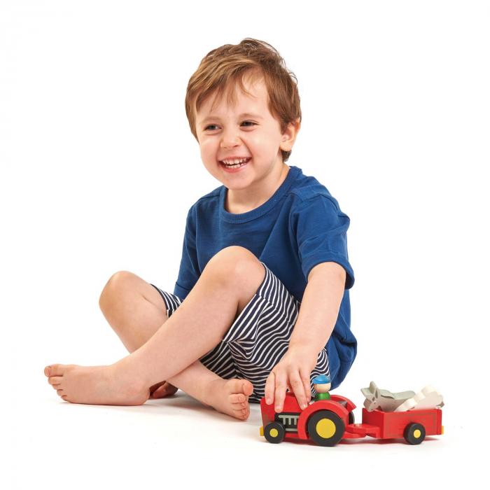 Tractor cu remorca jucarie din lemn educativa, 5 piese 0
