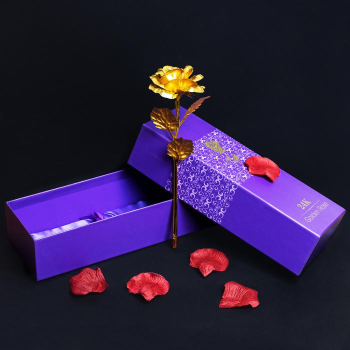 Trandafir placat cu aur 24K - model artificial [1]