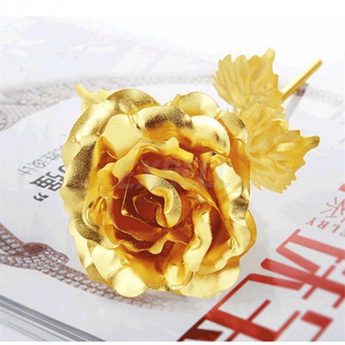 Trandafir placat cu aur 24K - model artificial [2]