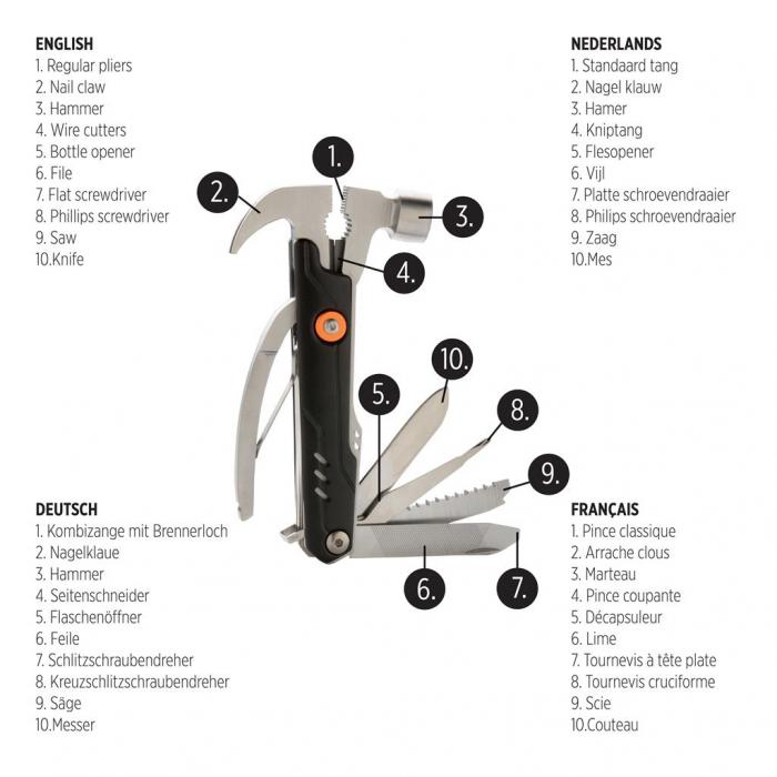 Unealta multifunctionala de buzunar 10 in 1, Excalibur Hammer 4