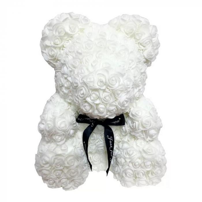Ursulet din spuma alb, 25 cm, cutie cadou 1