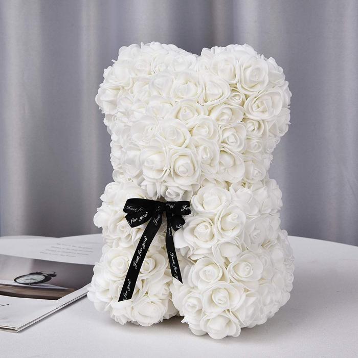 Ursulet din spuma alb, 25 cm, cutie cadou 0