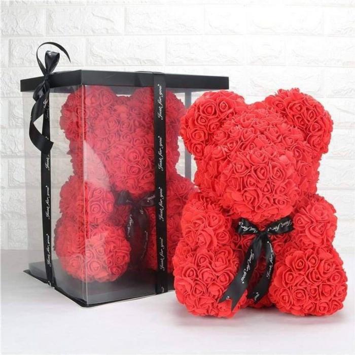 Ursulet din spuma rosu, 25 cm, cutie cadou 1