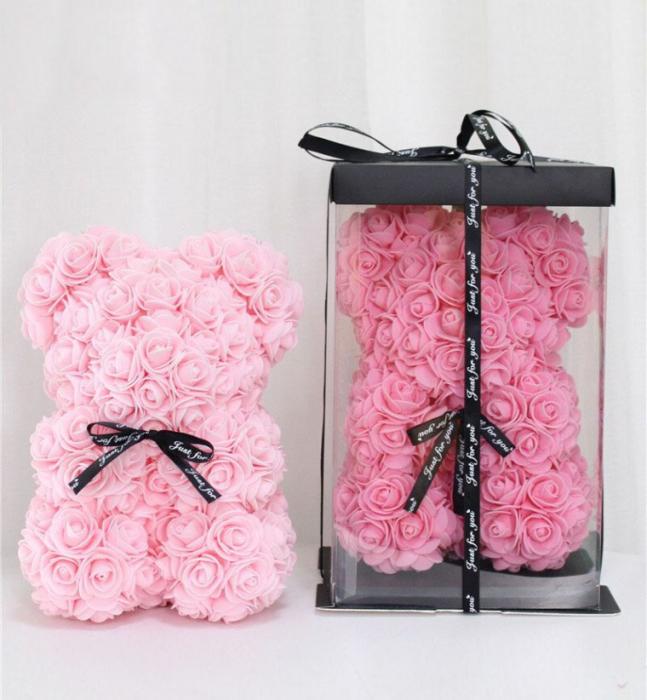 Ursulet din spuma roz, 25 cm, cutie cadou 2