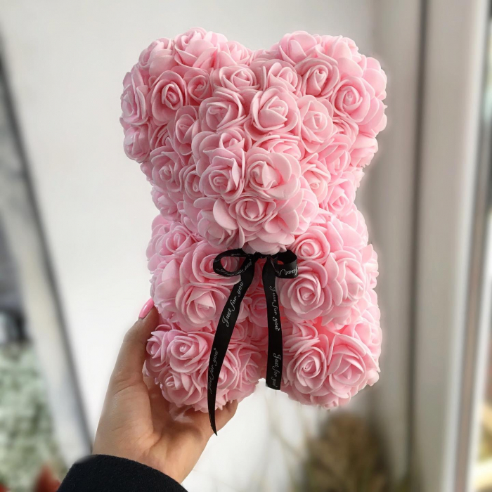 Ursulet din spuma roz, 25 cm, cutie cadou 0