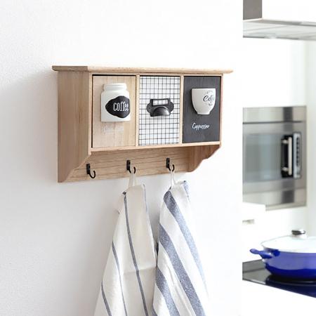Cuier perete lemn cu organizator cafea0