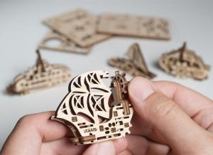 Puzzle 3D Fidget Nave Maritime din Lemn Ugears [1]