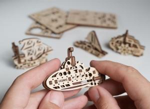 Puzzle 3D Fidget Nave Maritime din Lemn Ugears [2]