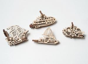 Puzzle 3D Fidget Nave Maritime din Lemn Ugears [3]