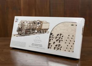 Puzzle 3D Locomotiva cu Aburi si Vagon din Lemn Ugears24