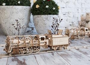 Puzzle 3D Locomotiva cu Aburi si Vagon din Lemn Ugears6
