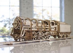 Puzzle 3D Locomotiva cu Aburi si Vagon din Lemn Ugears7