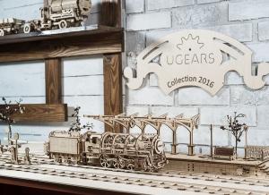 Puzzle 3D Locomotiva cu Aburi si Vagon din Lemn Ugears13