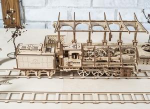 Puzzle 3D Locomotiva cu Aburi si Vagon din Lemn Ugears14