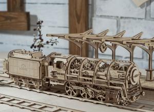Puzzle 3D Locomotiva cu Aburi si Vagon din Lemn Ugears16
