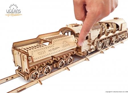 Puzzle 3D Tren V- Express cu abur din lemn Ugears14