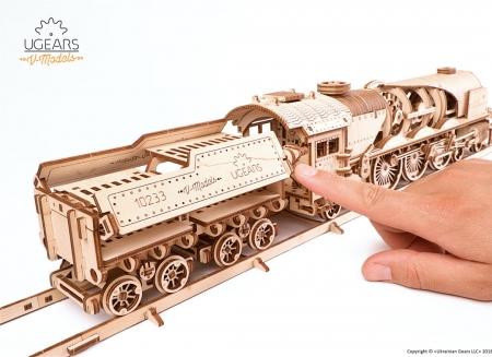 Puzzle 3D Tren V- Express cu abur din lemn Ugears15