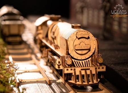 Puzzle 3D Tren V- Express cu abur din lemn Ugears3