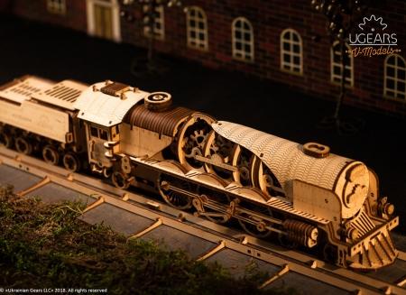 Puzzle 3D Tren V- Express cu abur din lemn Ugears2