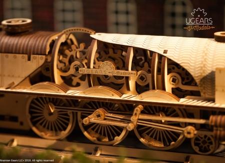 Puzzle 3D Tren V- Express cu abur din lemn Ugears5
