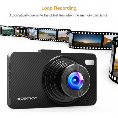 Camera auto DVR Apeman C450, Full HD, G-Sensor, Mod parcare, Filmare in bucla7