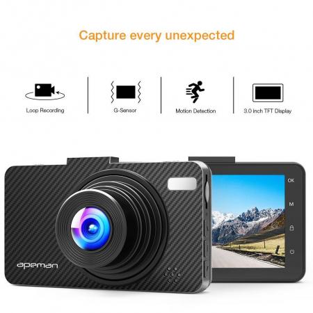 Camera auto DVR Apeman C450, Full HD, G-Sensor, Mod parcare, Filmare in bucla8