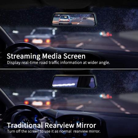 Camera auto DVR Dubla Oglinda VanTop H610, 2.5K, Bord si Spate, Touch-Screen, Senzor Sony IMX 3355