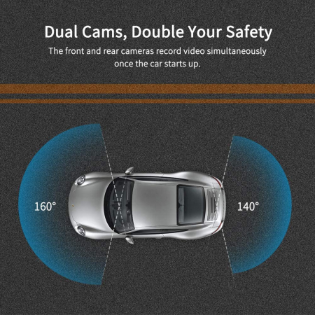 Camera auto DVR Dubla Oglinda VanTop H610, 2.5K, Bord si Spate, Touch-Screen, Senzor Sony IMX 3354
